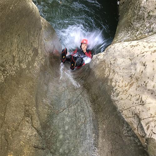 Canyoning - toboggant à l'envers